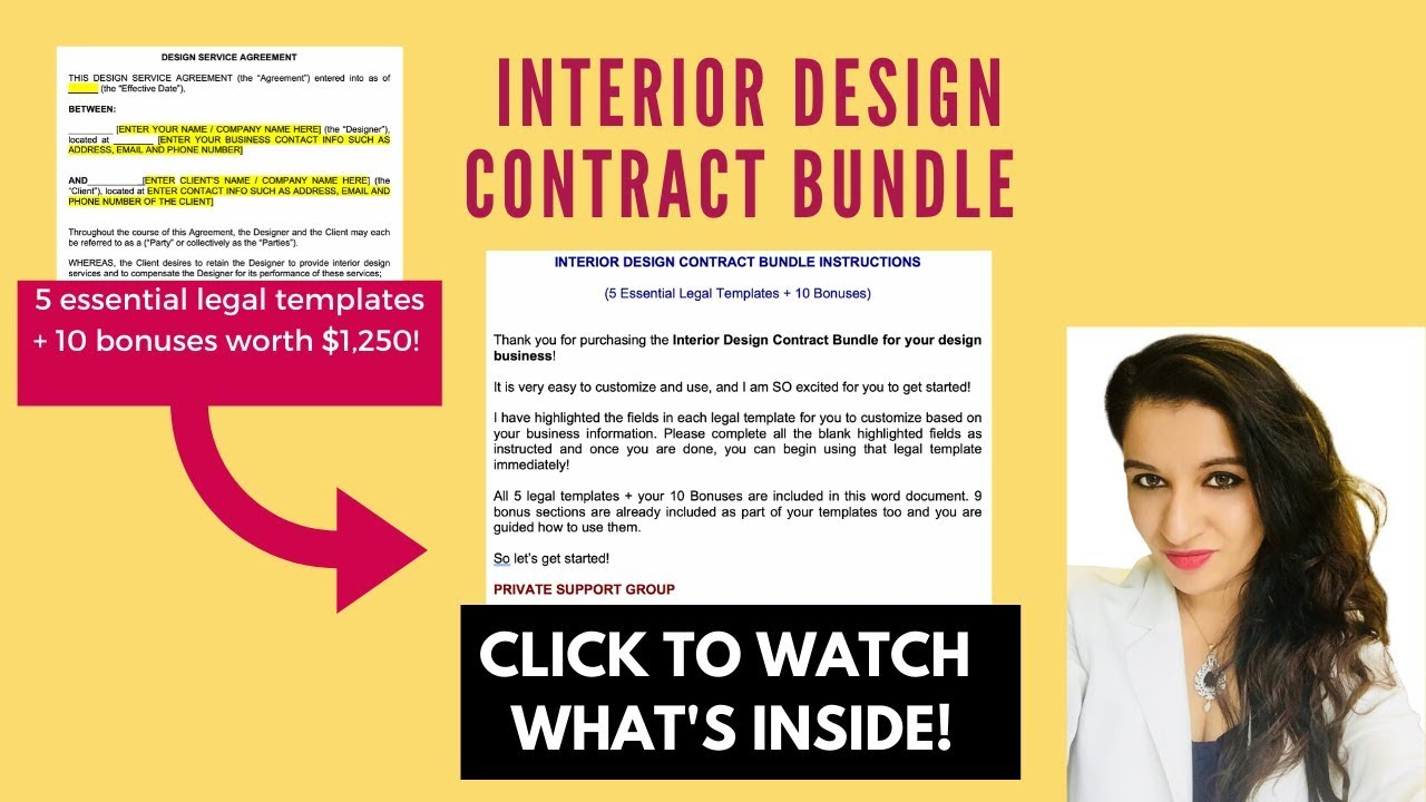 Interior Design Contract Template For Your Design Business Youtube
