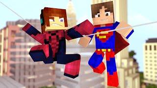 Minecraft: Dia de Heróis ( Homem Aranha e SuperMan)- Aventuras Com Mods