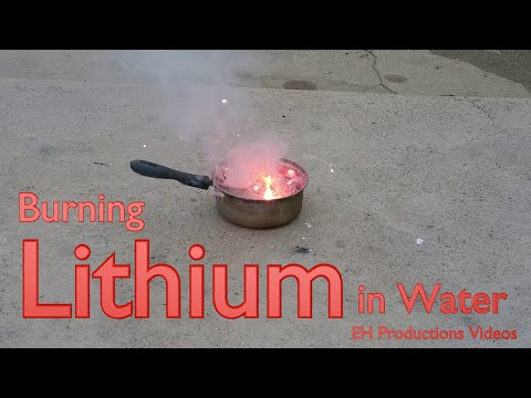 Burning Lithium in Water Close Up