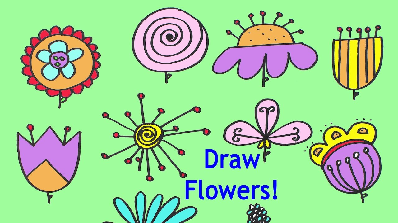 how to draw flowers in different ways step by step for kids and