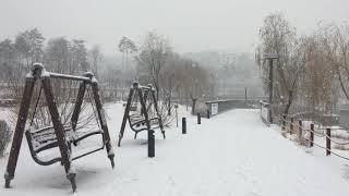 Snowy Gwanggyo Lake Park walking