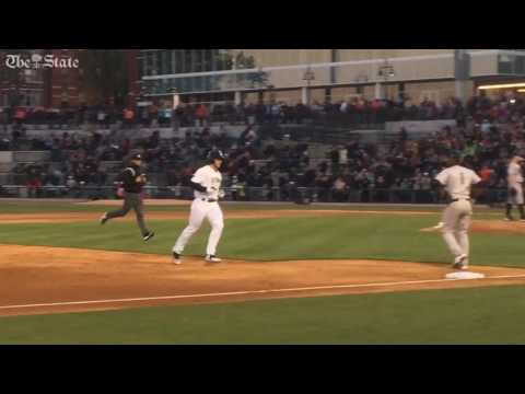Tim Tebow hits a home run in first at bat with minor league baseball team fireflies