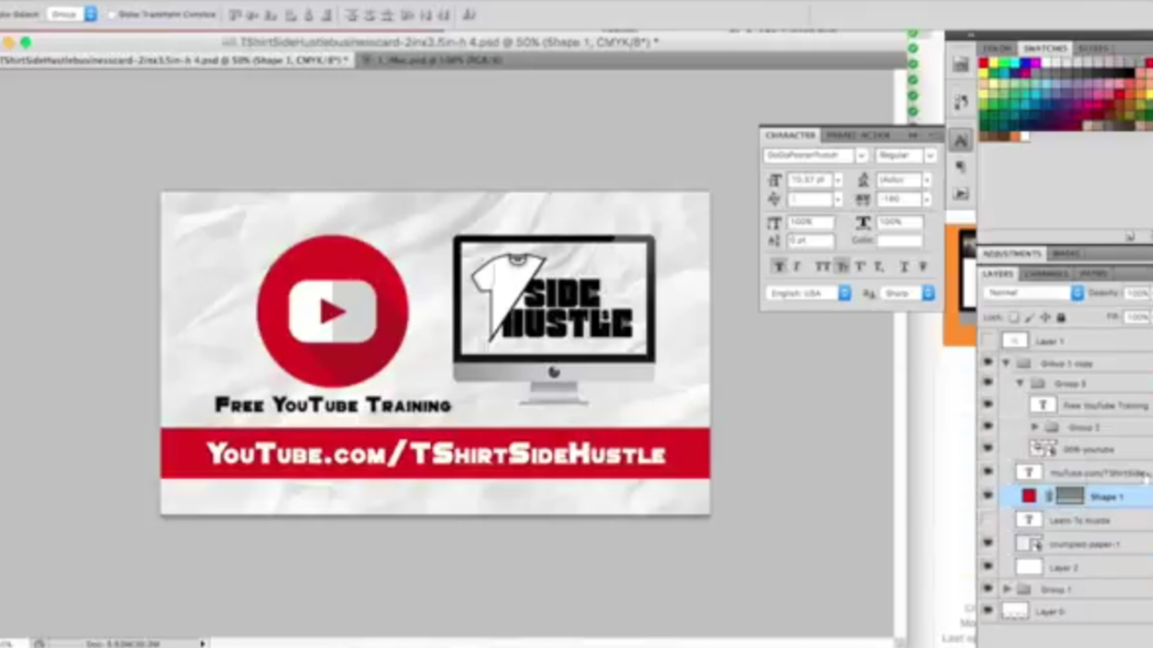 How to Design A Business Card In Photoshop (T-Shirt Side Hustle ...