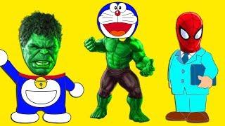 Learn Colors Family Doraemon Heads Batman Hulk Super Hero Spiderman Chaien Family Song