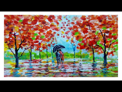 Step by step autumn acrylic painting for beginners | acrylic painting tutorial | landscape painting