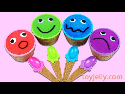 Learn Colors Kinetic Sand Smiley Face Ice Cream Surprise Toys Disney Cars Frozen Peppa Pig PJ Masks