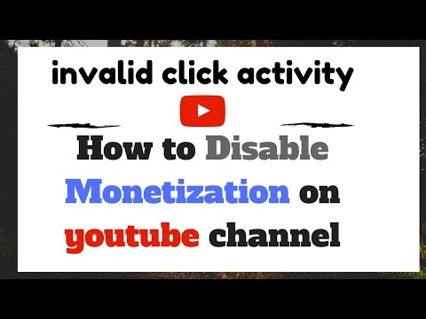 How to Disable Monetization on youtube channel