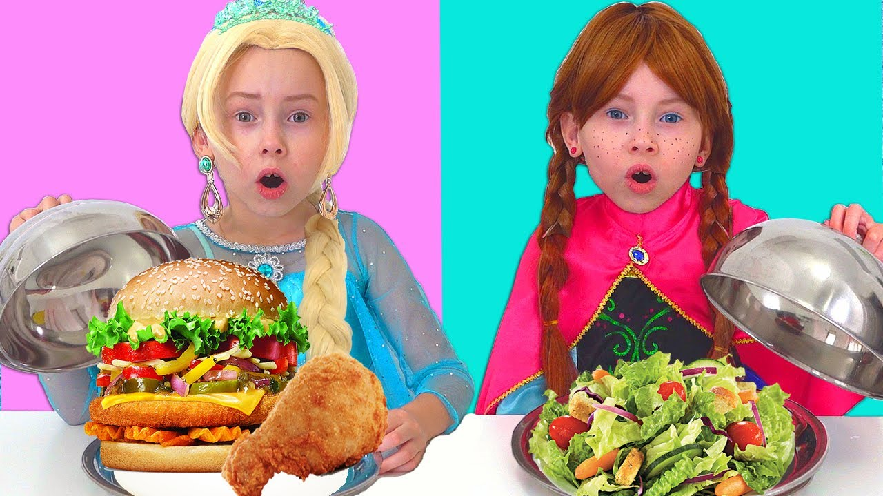 Elsa & Anna toddlers Pretend Play eat Healthy Food for Kids| Funny Kids Video