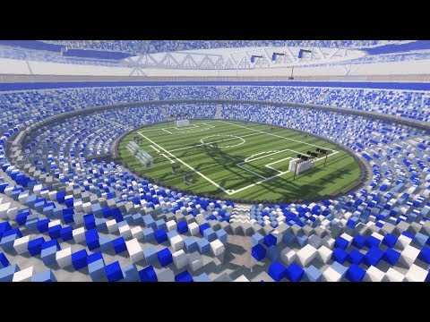 Minecraft: Huge Football/ soccer Stadium Timelapse