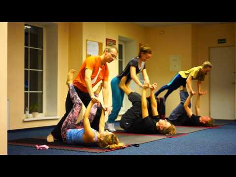AcroYoga - Front bird sequence Beginners group 2015 December, Vilnius, Lithuania