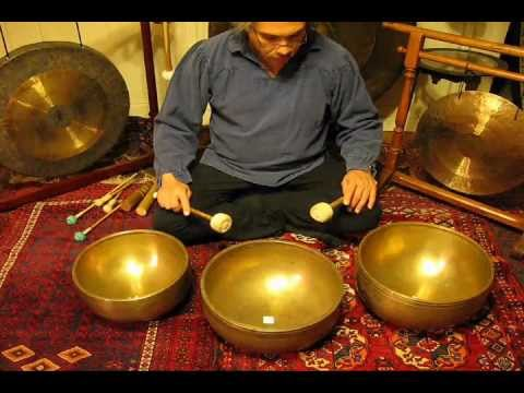 Meditation with 3 Giant antique Tibetan Singing Bowls