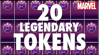 20 LEGENDARY TOKENS Opening! Hunt for 5-Star Covers - Marvel Puzzle Quest with adampq