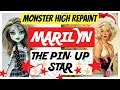 PINUP MONSTER HIGH DOLL REPAINT / BEAUTIFUL MARILYN / ART SPEEDPAINT TUTORIAL #dolls #art #pinup