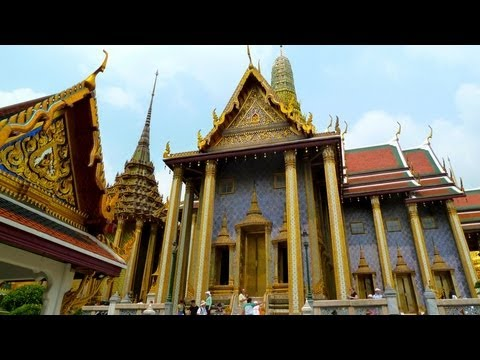 Bangkok, Thailand. City impressions with tourist attractions Grande Palace, Gold Buddha