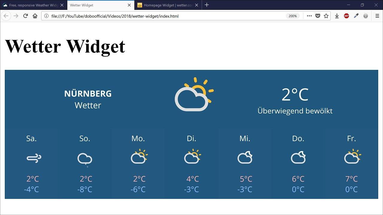 Wetter Widget Homepage