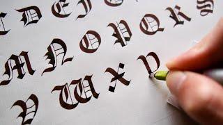 パラレルペンでゴシック体の大文字を練習しよう Calligraphy Gothic Capital Letter with Parallel Pen