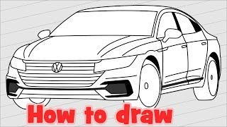 How to draw a car Volkswagen Arteon