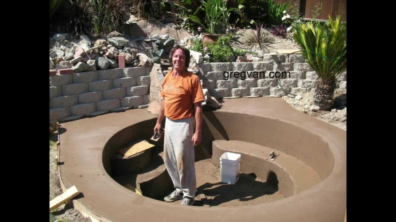 Cement Backyard Pond : How To Build Backyard Concrete Pond or Pool  Part Six Finishing