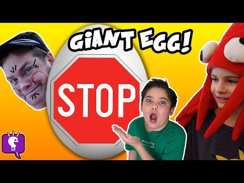 Giant STOP SIGN Egg with RED Surprise Toys and Play by HobbyKidsTV