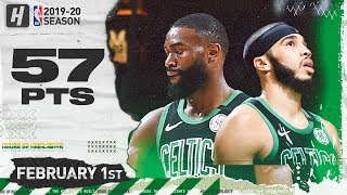 Jayson Tatum & Jaylen Brown 57 Points Combined Highlights vs 76ers | February 1, 2020