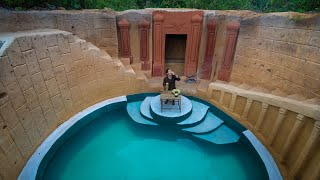 Living Off The Grid, Girl Build The Most Beautiful Underground House Basement with Swimming Pool