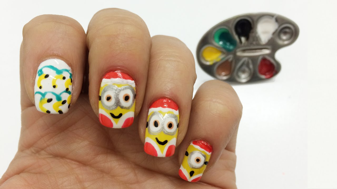 Decoracion de uñas Minions Navidad paso a paso , Minions nail art , YouTube