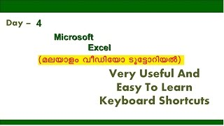 MS Excel Keyboard Shortcuts (Malayalam) - Day - 4