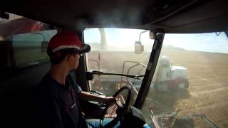 case ih 2388 and peterbilt 379 unloading on the go gopro