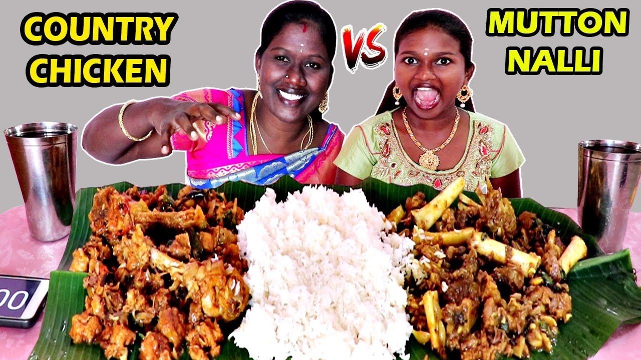 MUTTON NALLI vs COUNTRY CHICKEN UPPU KARI EATING CHALLENGE IN TAMIL FOODIES DIVYA vs ANUSHYA