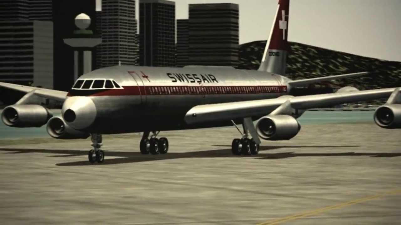 fs9  fs2004 classic - swiss air convair cv-990  u0026quot landing in kai tak u0026quot