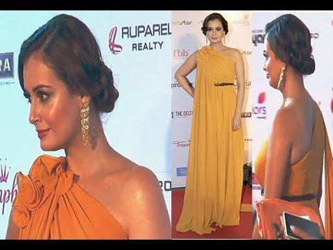 Gorgeous Dia Mirza in Orange Gown at Femina Miss India World 2016