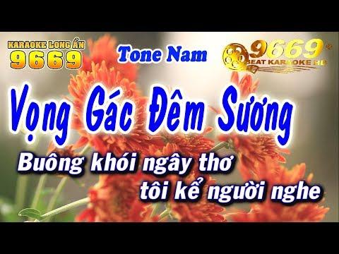 Karaoke Vọng Gác Đêm Sương | Tone Nam | Nhạc sống KLA | Karaoke 9669