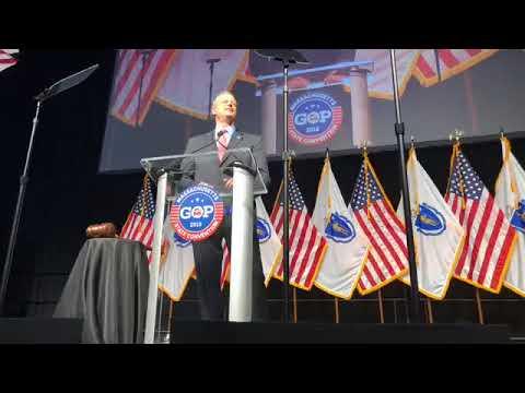 Gov. Charlie Baker addresses delegates at MassGOP convention
