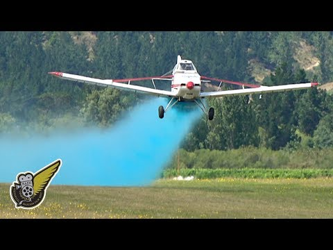 Very Low Level Aerial Top Dressing - Blue Spray