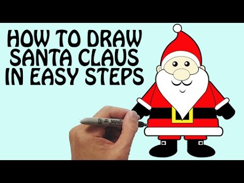 How To Draw Santa Claus In Easy Steps Festival Drawing For Kids