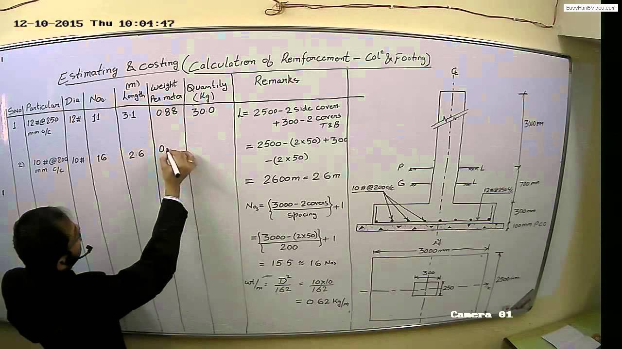 Estimation Of Reinforcement Foundation Amp Column Youtube