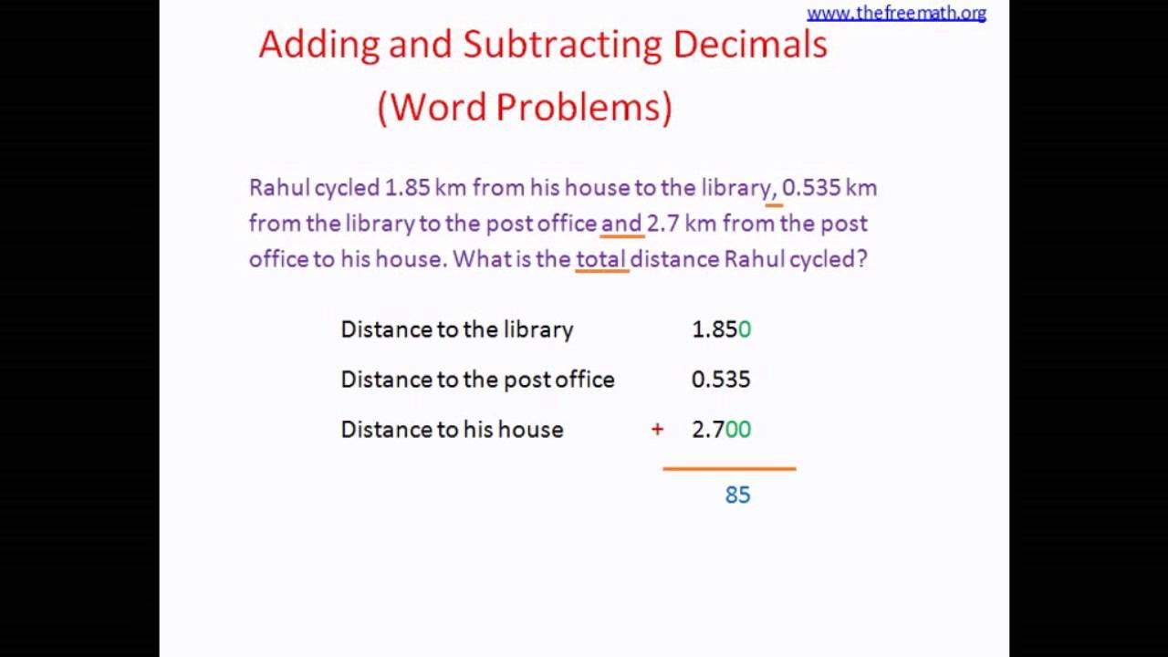 Adding Subtracting Decimals Word Problems Youtube