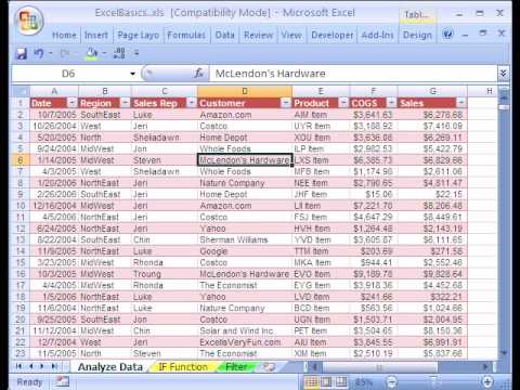 Excel Basics  Data Analysis Sort  Youtube