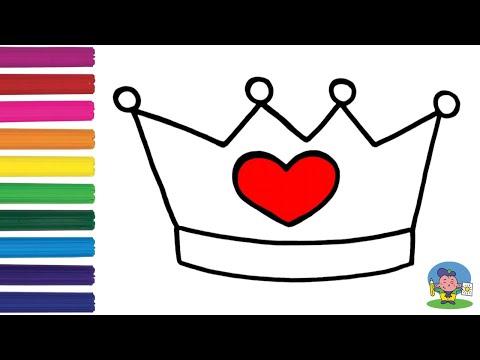 Как нарисовать КОРОНУ С СЕРДЕЧКОМ / Раскраска КОРОНА для детей / How to Draw a Crown