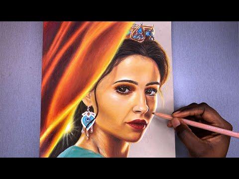Aladdin 2019 Princess Jasmine Speed Drawing Tutorial Using