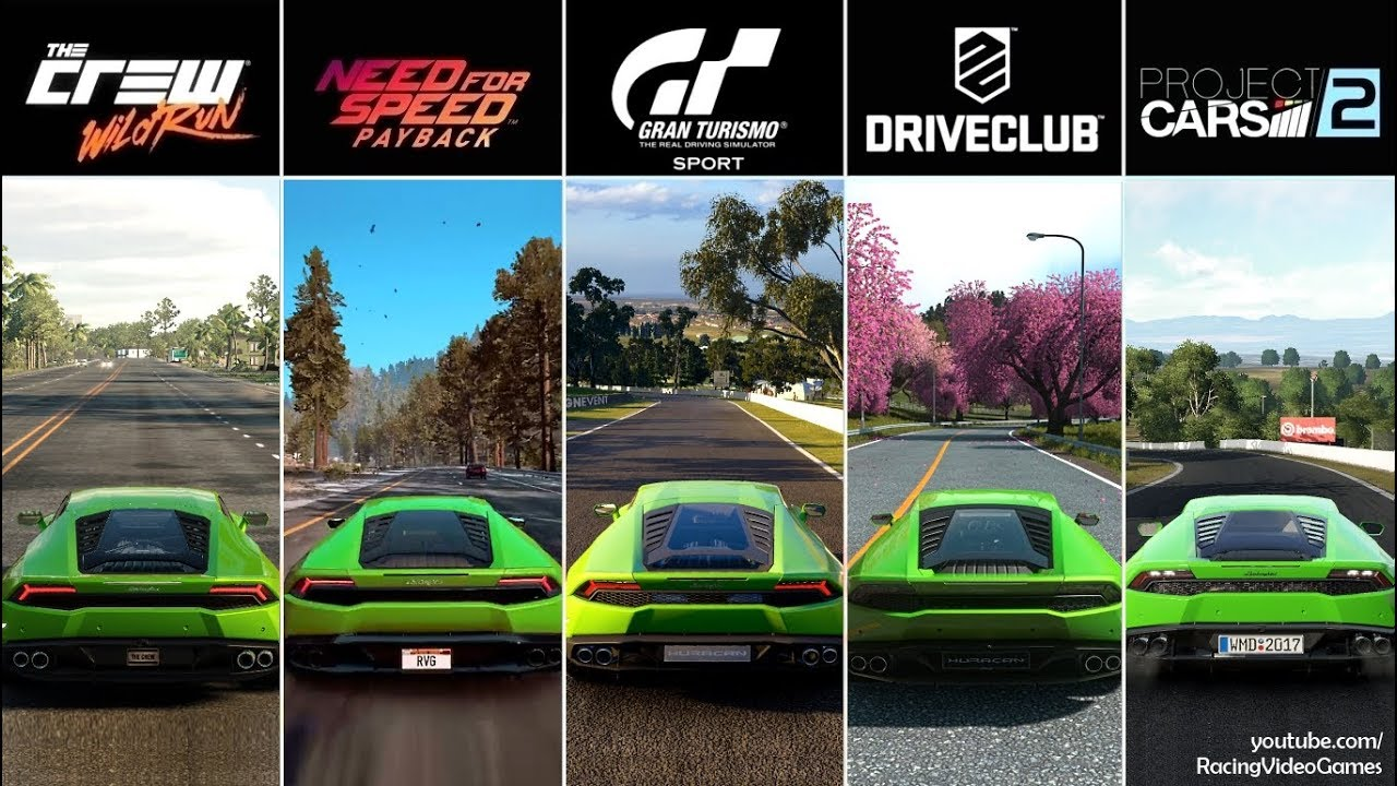 Gran Turismo Sport Vs Nfs Payback Vs Driveclub Vs The Crew Vs Project Cars 2 Huracan Comparison Youtube