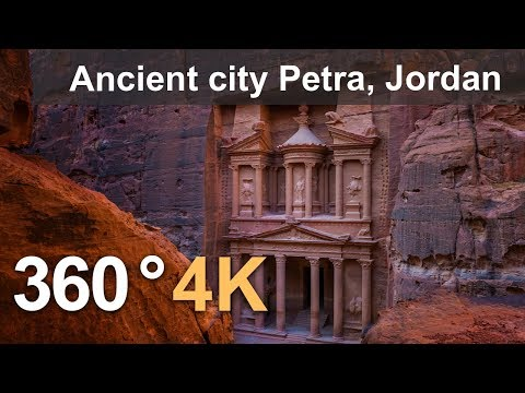 360 video, Ancient city Petra, Jordan. 4K aerial video
