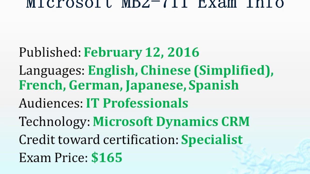Released Passtcert Microsoft Dynamics Crm Mb2 711 Exam Dumps Youtube