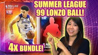 99 LONZO BALL?! QUADRUPLE BUNDLE OPENING = SUMMER LEAGUE   NBA LIVE MOBILE