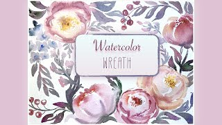 HOW TO PAINTING WREATH Watercolor flowers roses and peony Speed painting Video lesson watercolour #1