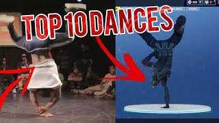 TOP 10 Most Used Fortnite Dances + Real Life References! *NEW 2018*