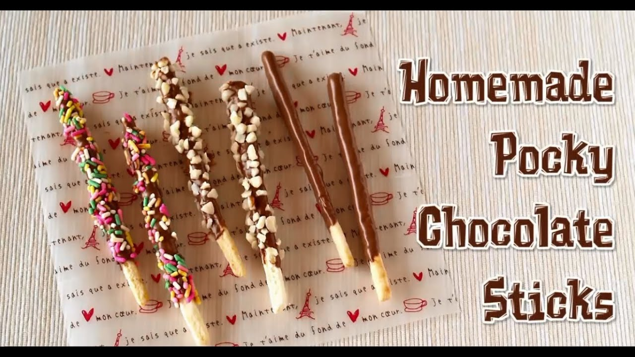 Cemilan Unik - Homemade Pocky Chocolate Sticks - YouTube