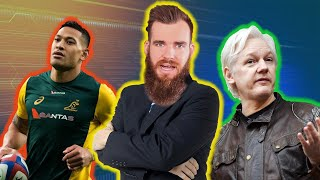 Israel Folau Freedom of Speech, Julian Assange Arrest and Man Sues Parents Over Porn Collection.