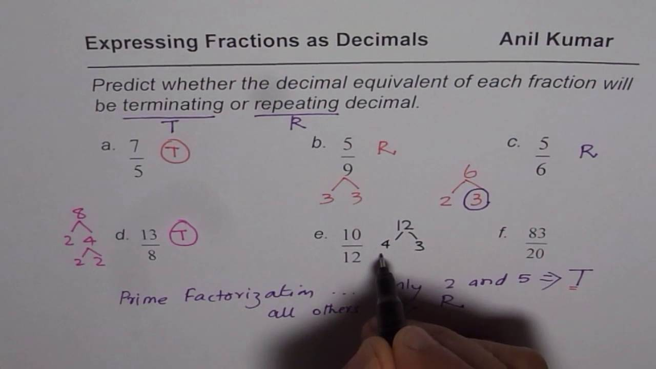 How To Predict Whether Fraction Equivalent Decimal Is Terminating Or Repeating