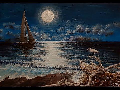 Acrylic Painting Moonlight Sea Sailboat / ASMR Akrilik Resim Ay Işığında Yelkenli